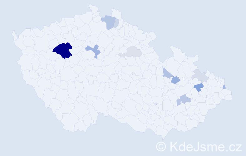 Příjmení: 'Haužvic', počet výskytů 28 v celé ČR