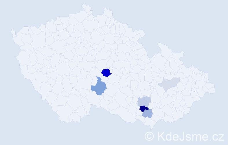 Příjmení: 'Lajkeb', počet výskytů 17 v celé ČR