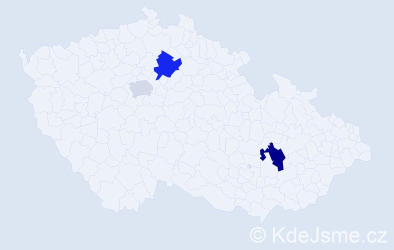 Příjmení: 'Cmar', počet výskytů 9 v celé ČR