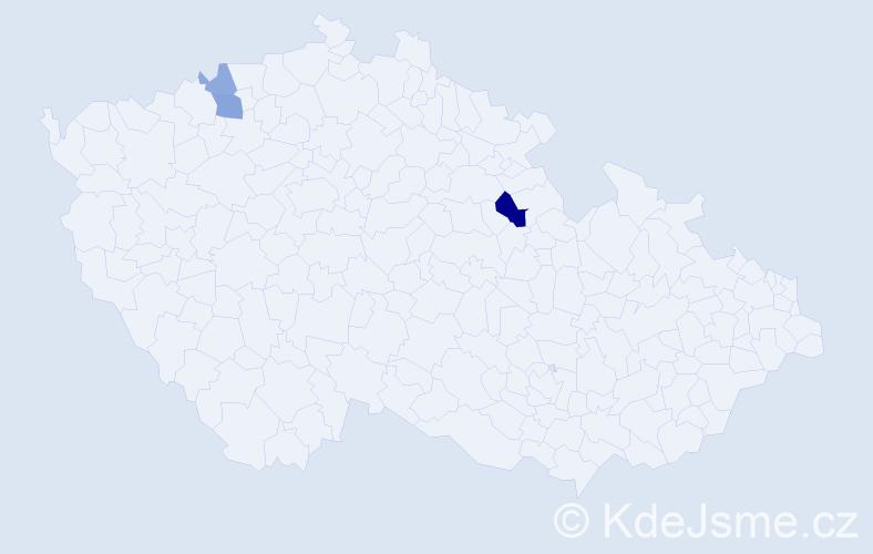 Příjmení: 'Čirip', počet výskytů 6 v celé ČR