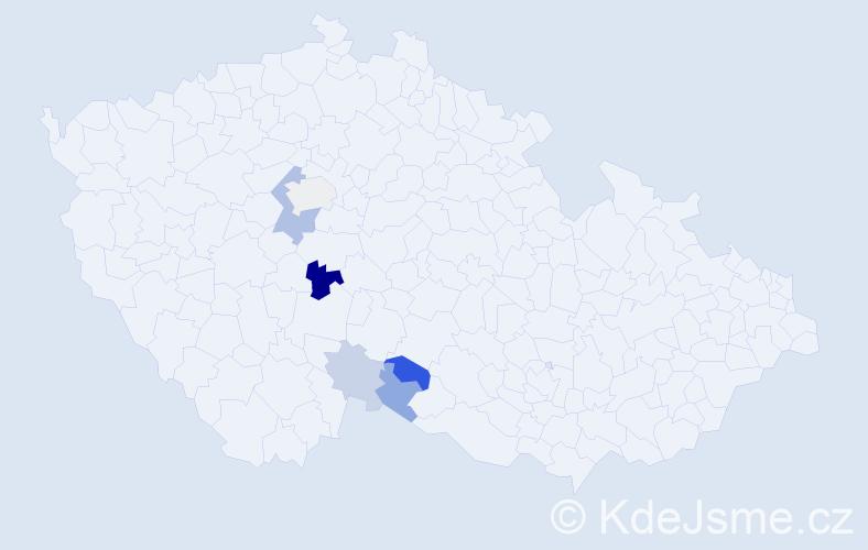 Příjmení: 'Hameršmídová', počet výskytů 11 v celé ČR
