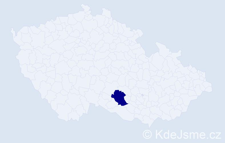 """Příjmení: '""""Čermáková Loupalová""""', počet výskytů 1 v celé ČR"""