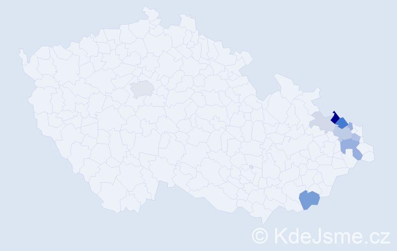 Příjmení: 'Lassaková', počet výskytů 26 v celé ČR