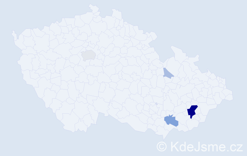Příjmení: 'Hozík', počet výskytů 25 v celé ČR
