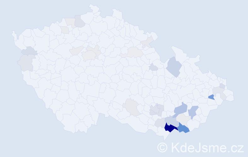 Příjmení: 'Brablcová', počet výskytů 115 v celé ČR