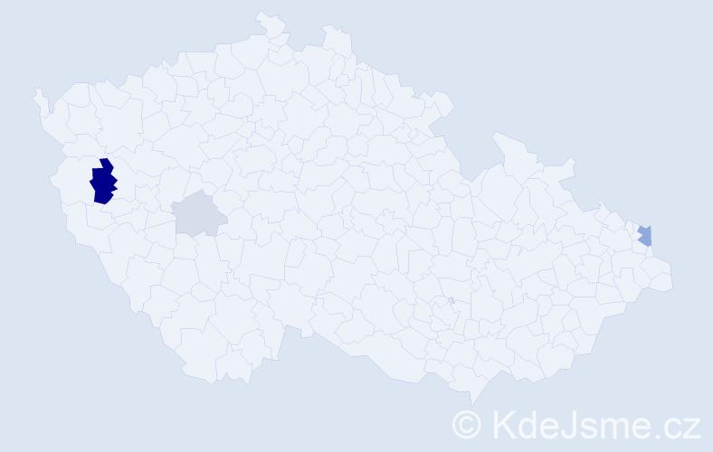 Příjmení: 'Dziambová', počet výskytů 10 v celé ČR