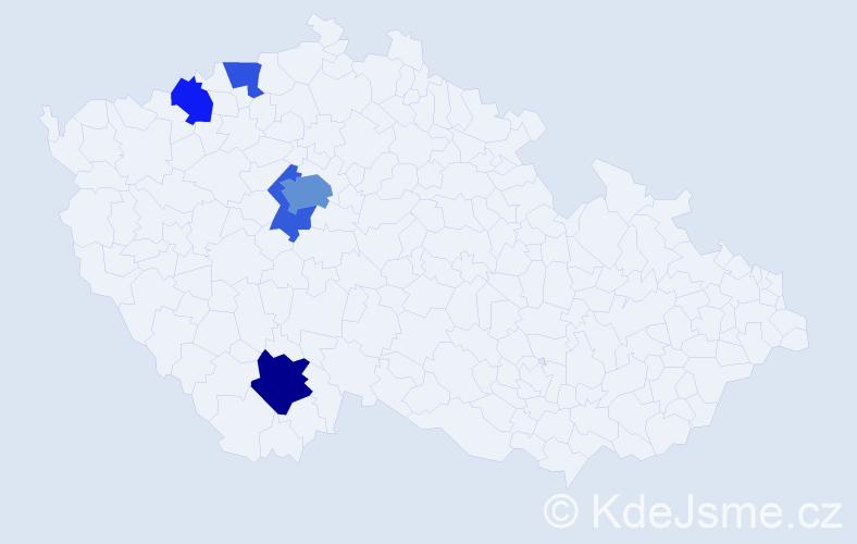 Příjmení: 'Cebeová', počet výskytů 10 v celé ČR