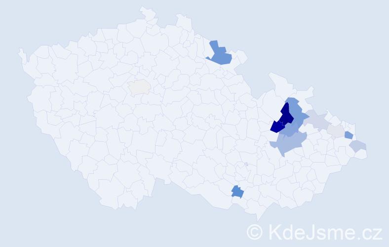 Příjmení: 'Daneček', počet výskytů 26 v celé ČR