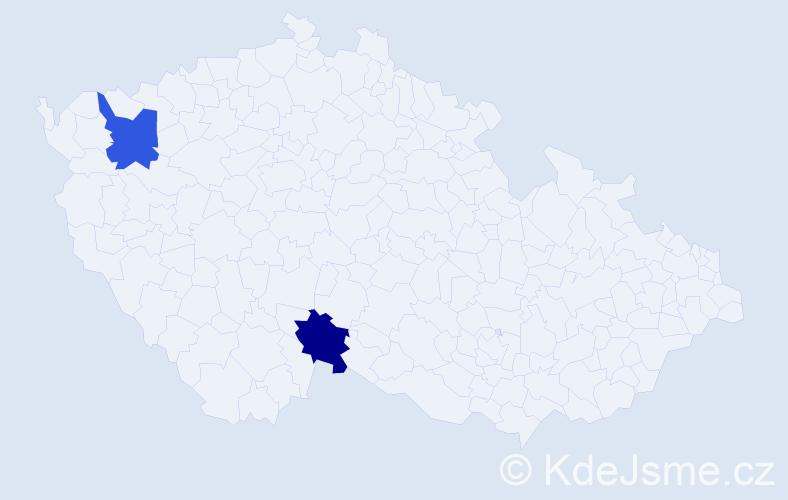 Příjmení: 'Daumann', počet výskytů 2 v celé ČR