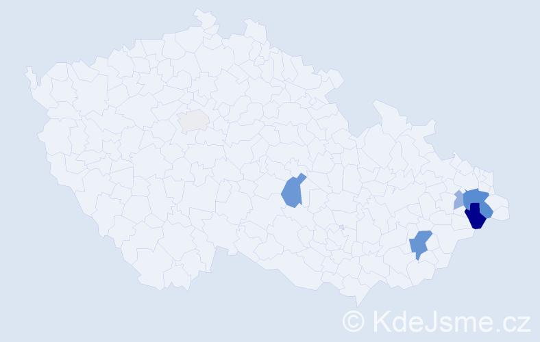 Příjmení: 'Cvíčková', počet výskytů 16 v celé ČR