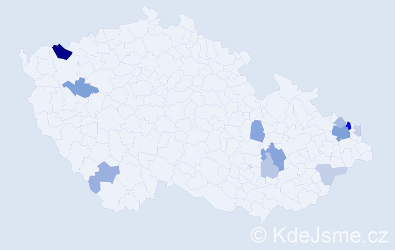 Příjmení: 'Dziubová', počet výskytů 28 v celé ČR