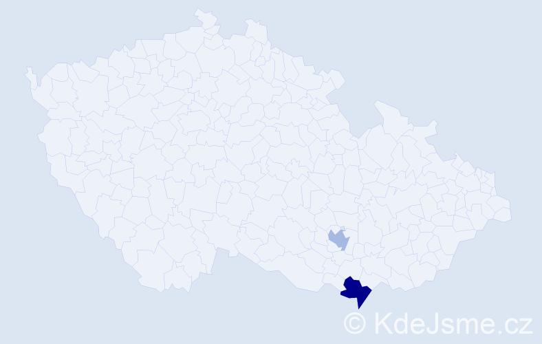 Příjmení: 'Kallupp', počet výskytů 8 v celé ČR