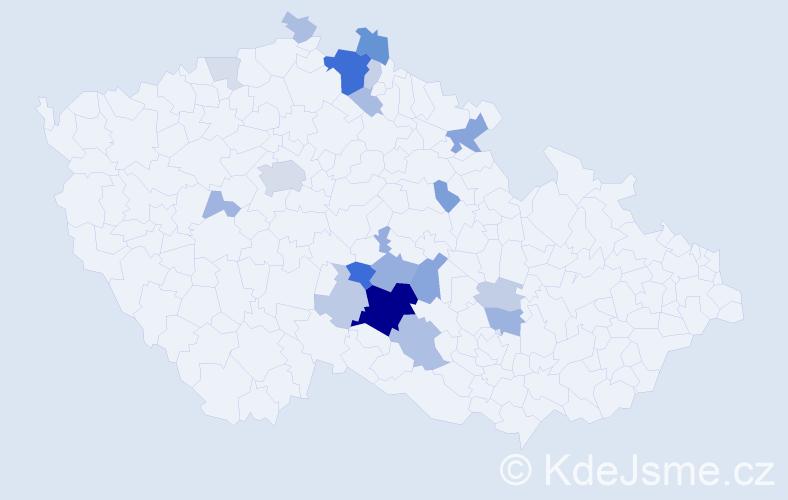 Příjmení: 'Eigl', počet výskytů 60 v celé ČR