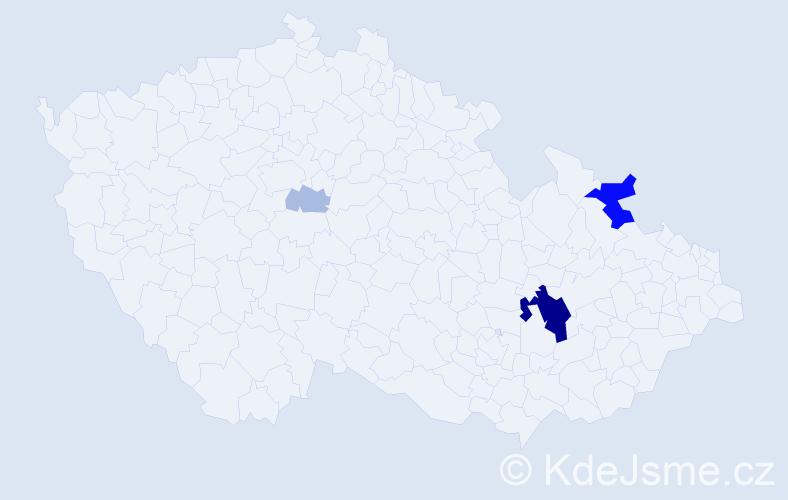 Příjmení: 'Čundrla', počet výskytů 15 v celé ČR