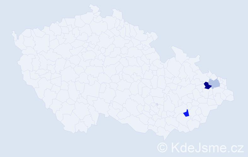 Příjmení: 'Kišo', počet výskytů 3 v celé ČR