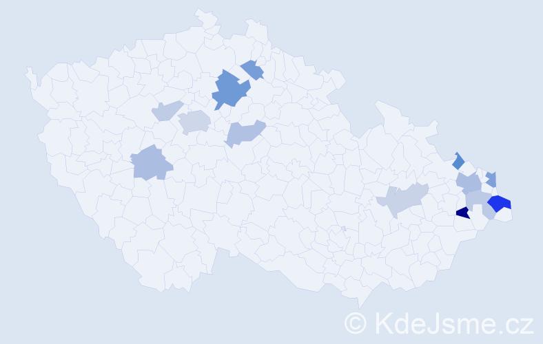 Příjmení: 'Landecký', počet výskytů 26 v celé ČR