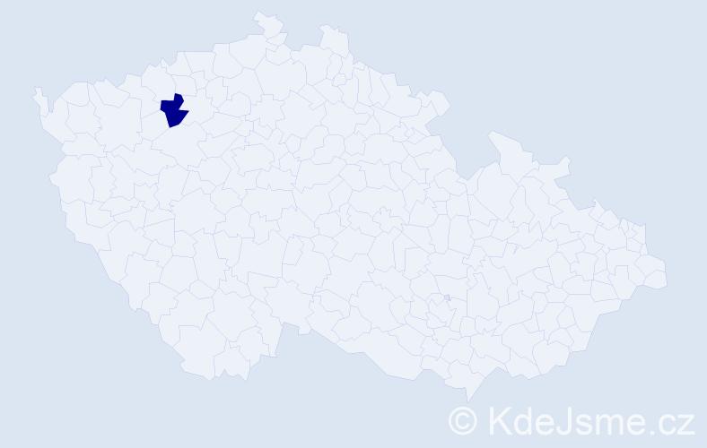 """Příjmení: '""""Gaborová Vápeníková""""', počet výskytů 1 v celé ČR"""