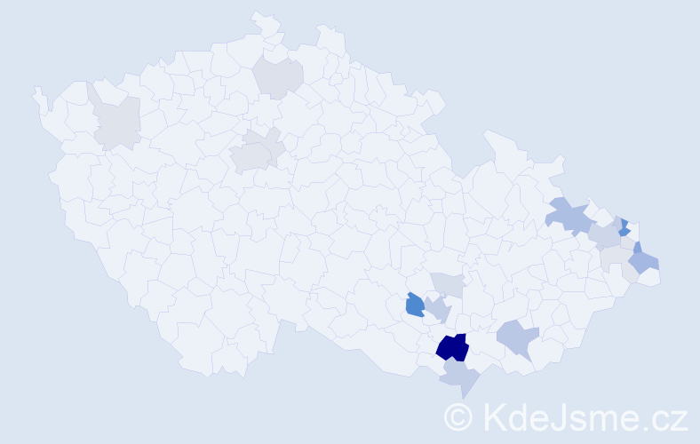 Příjmení: 'Kallusová', počet výskytů 64 v celé ČR