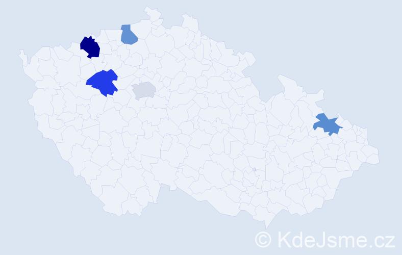 Příjmení: 'Kádár', počet výskytů 6 v celé ČR