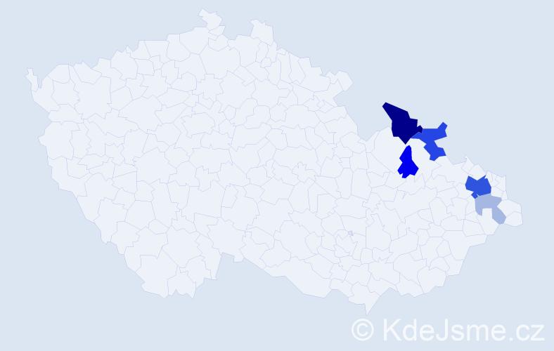 Příjmení: 'Kocubová', počet výskytů 16 v celé ČR