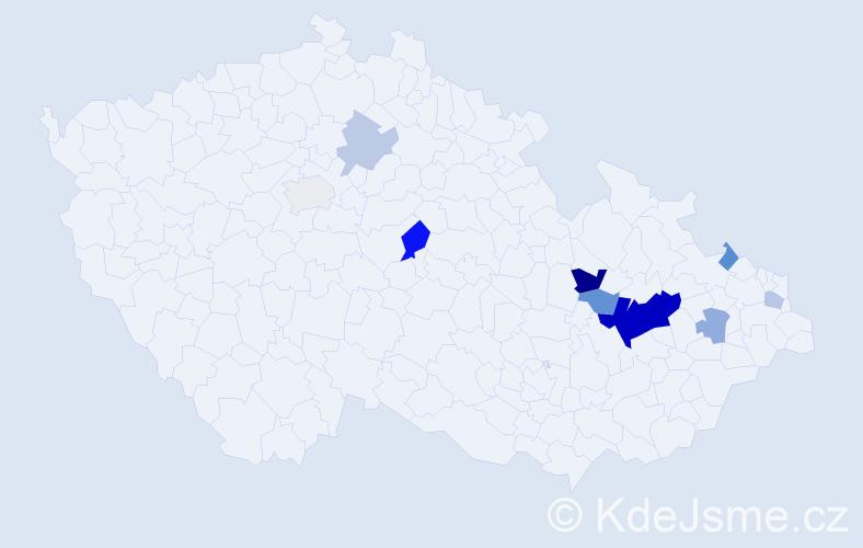 Příjmení: 'Bojkovský', počet výskytů 21 v celé ČR