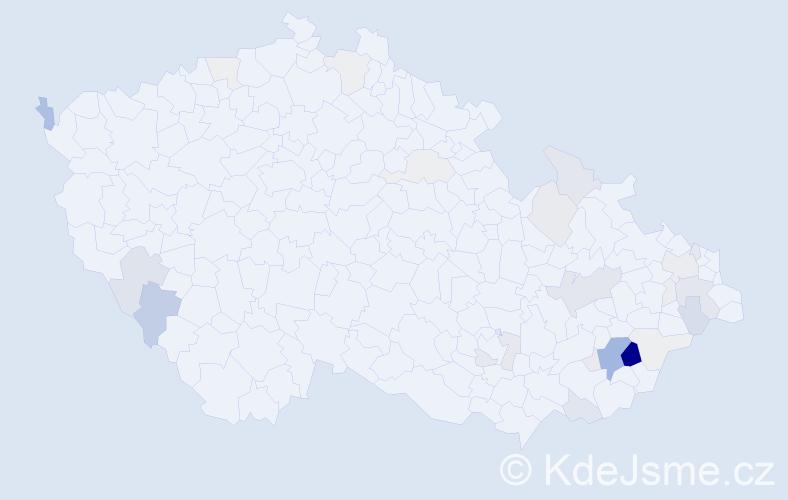 Příjmení: 'Jakuba', počet výskytů 90 v celé ČR