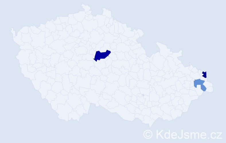 Příjmení: 'Lako', počet výskytů 5 v celé ČR