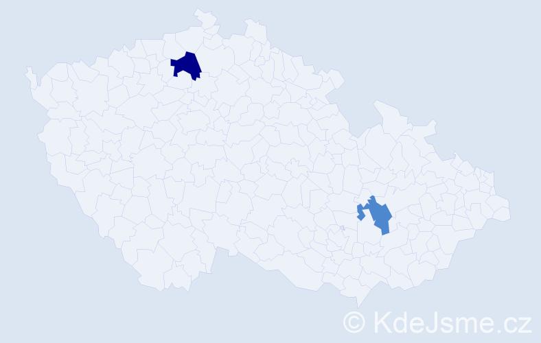 Příjmení: 'Čúzi', počet výskytů 5 v celé ČR