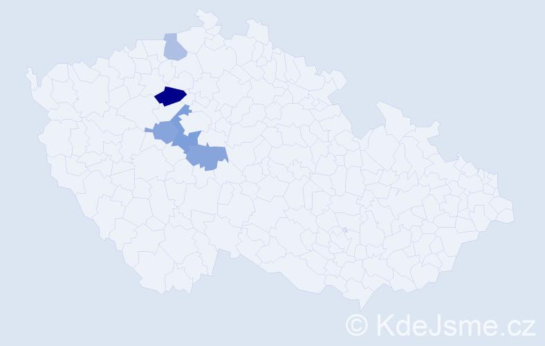 Příjmení: 'Cullen', počet výskytů 8 v celé ČR