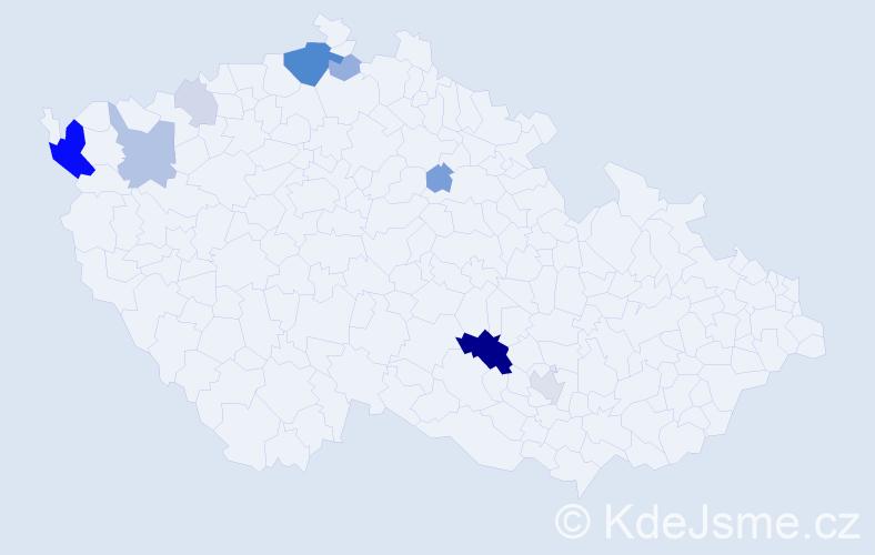 Příjmení: 'Engelhartová', počet výskytů 29 v celé ČR