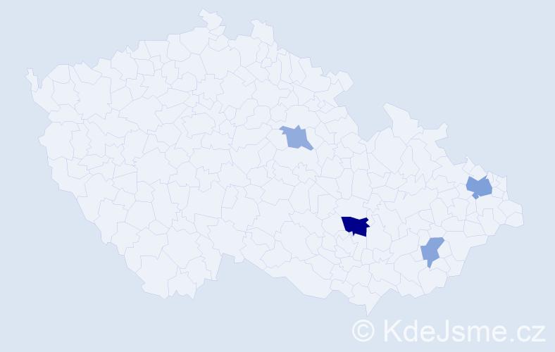Příjmení: 'Grofčík', počet výskytů 8 v celé ČR