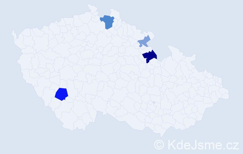 Příjmení: 'Gabarová', počet výskytů 8 v celé ČR