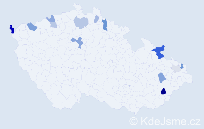 Příjmení: 'Angelovičová', počet výskytů 19 v celé ČR
