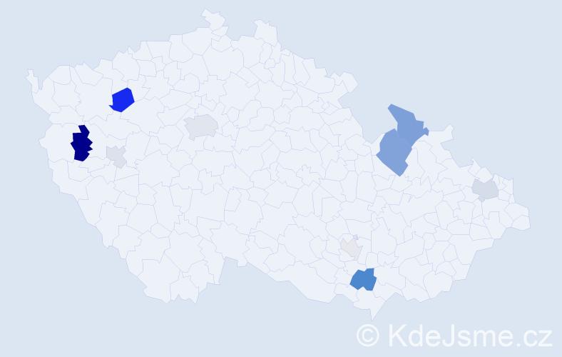 Příjmení: 'Jankovová', počet výskytů 21 v celé ČR
