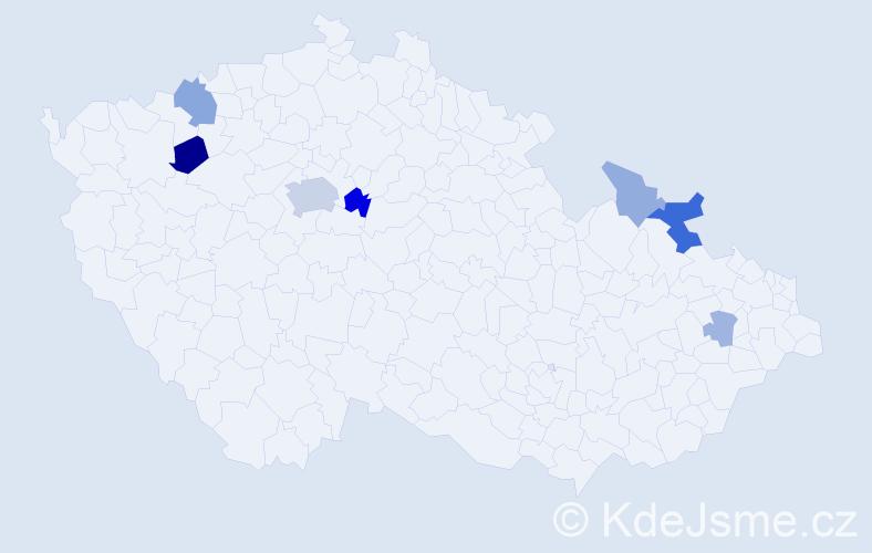 Příjmení: 'Hasincová', počet výskytů 18 v celé ČR
