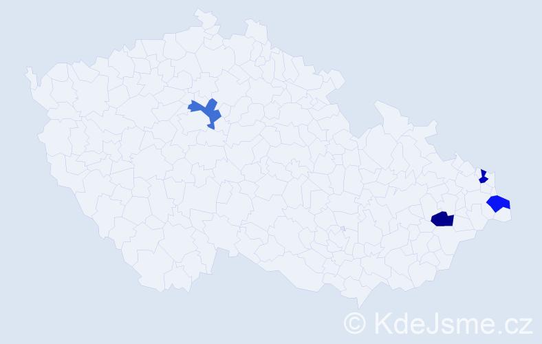 Příjmení: 'Cerniňáková', počet výskytů 4 v celé ČR