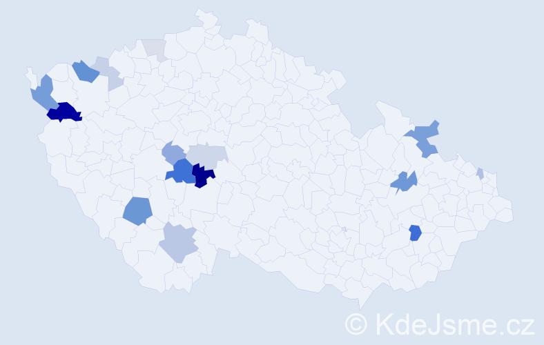 Příjmení: 'Kakaš', počet výskytů 39 v celé ČR
