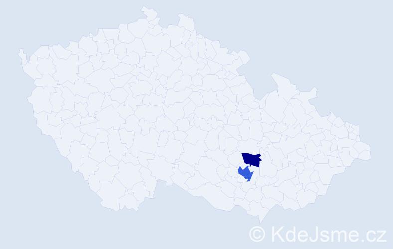 Příjmení: 'Hamzíková', počet výskytů 7 v celé ČR