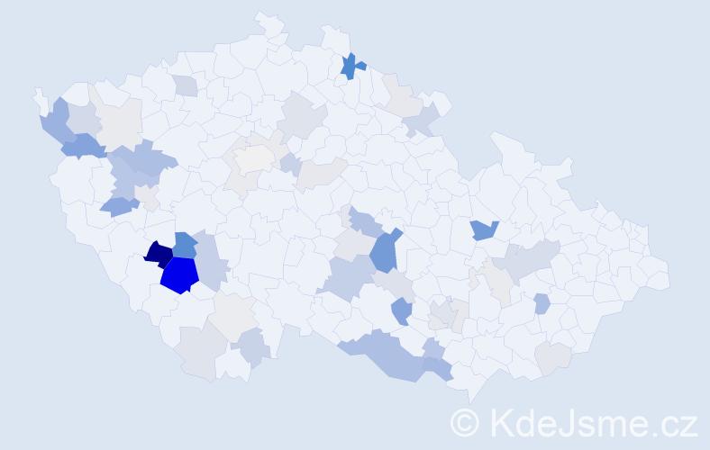 Příjmení: 'Pivnička', počet výskytů 139 v celé ČR
