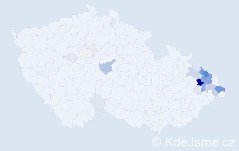 Příjmení: 'Honus', počet výskytů 104 v celé ČR