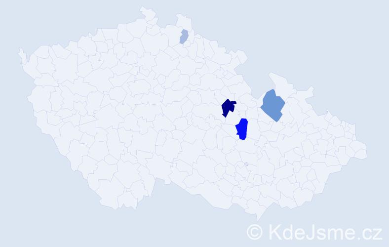 Příjmení: 'Ač', počet výskytů 11 v celé ČR