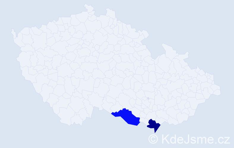 Příjmení: 'Hajkóvá', počet výskytů 2 v celé ČR