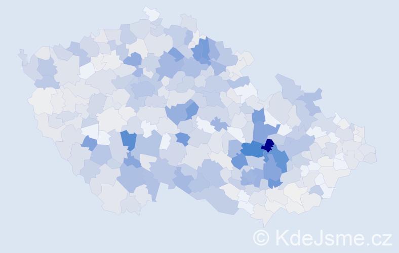 Příjmení: 'Koudelka', počet výskytů 2428 v celé ČR