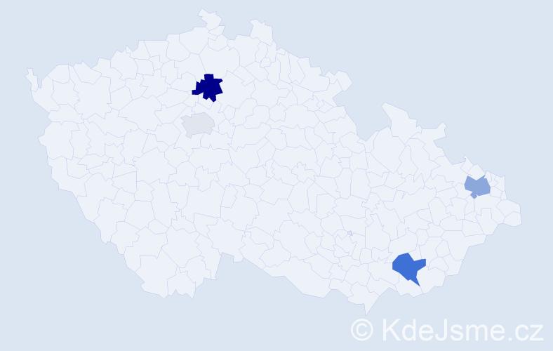 Příjmení: 'Hozzová', počet výskytů 7 v celé ČR