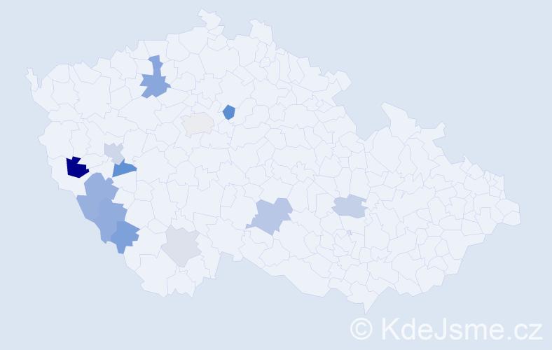 Příjmení: 'Kolros', počet výskytů 21 v celé ČR
