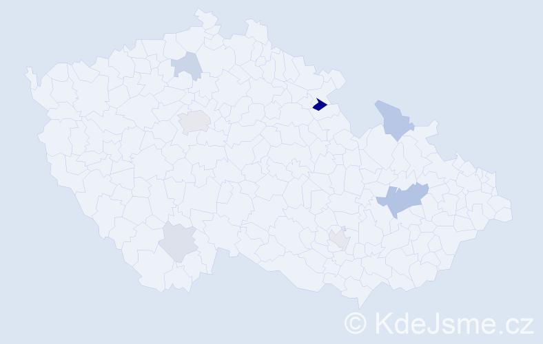 Příjmení: 'Géczi', počet výskytů 13 v celé ČR