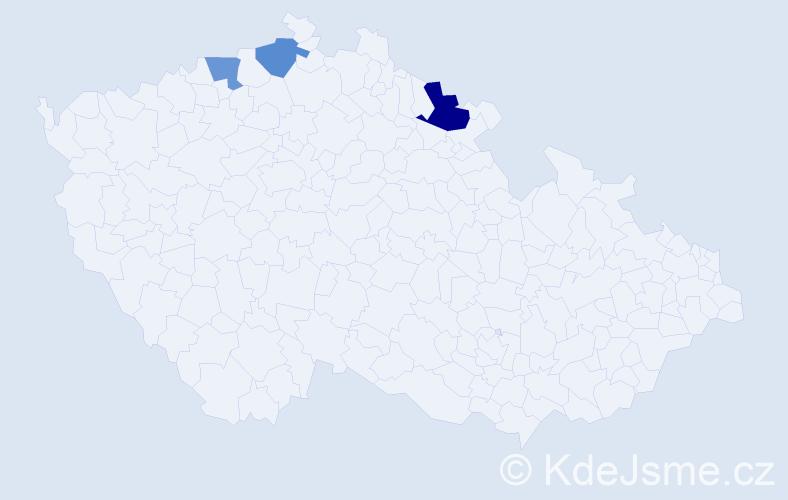 Příjmení: 'Klimčenková', počet výskytů 4 v celé ČR