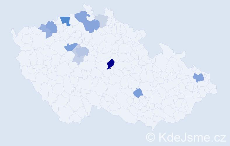 Příjmení: 'Bily', počet výskytů 37 v celé ČR