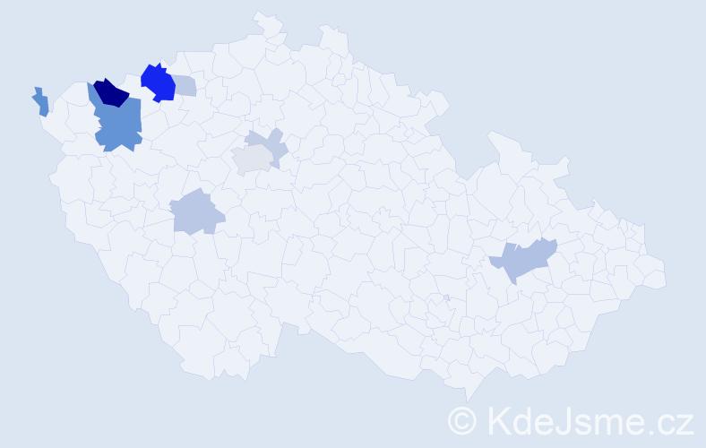 Příjmení: 'Lemák', počet výskytů 24 v celé ČR