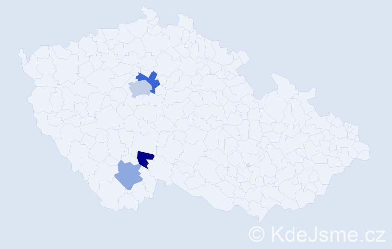Příjmení: 'Hamoňová', počet výskytů 7 v celé ČR